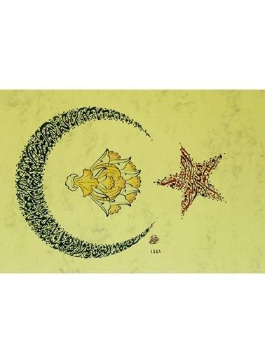 BEDESTEN PAZAR Hüsn-i Hat 21x30 cm Çerçevesiz Ay Yıldız Formunda Besmele,Kelime-i Tevhid Renkli